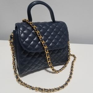 Lord & Taylor Quilted Blue Purse w/ chain Classic